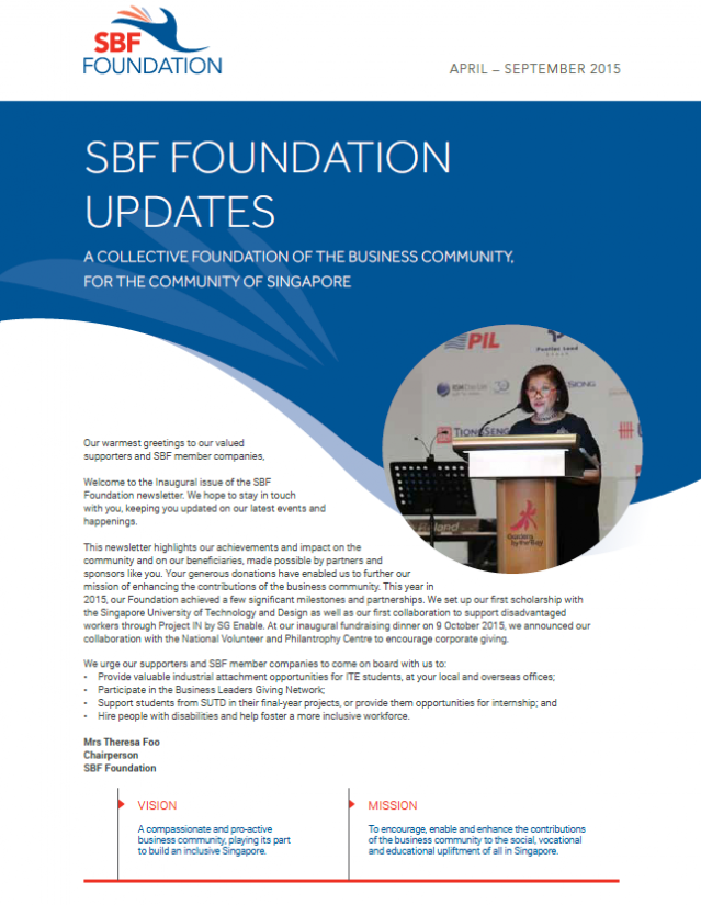 SBF Foundation Newsletter - April to September 2015
