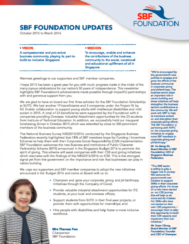 SBF Foundation Newsletter - October 2015 to March 2016